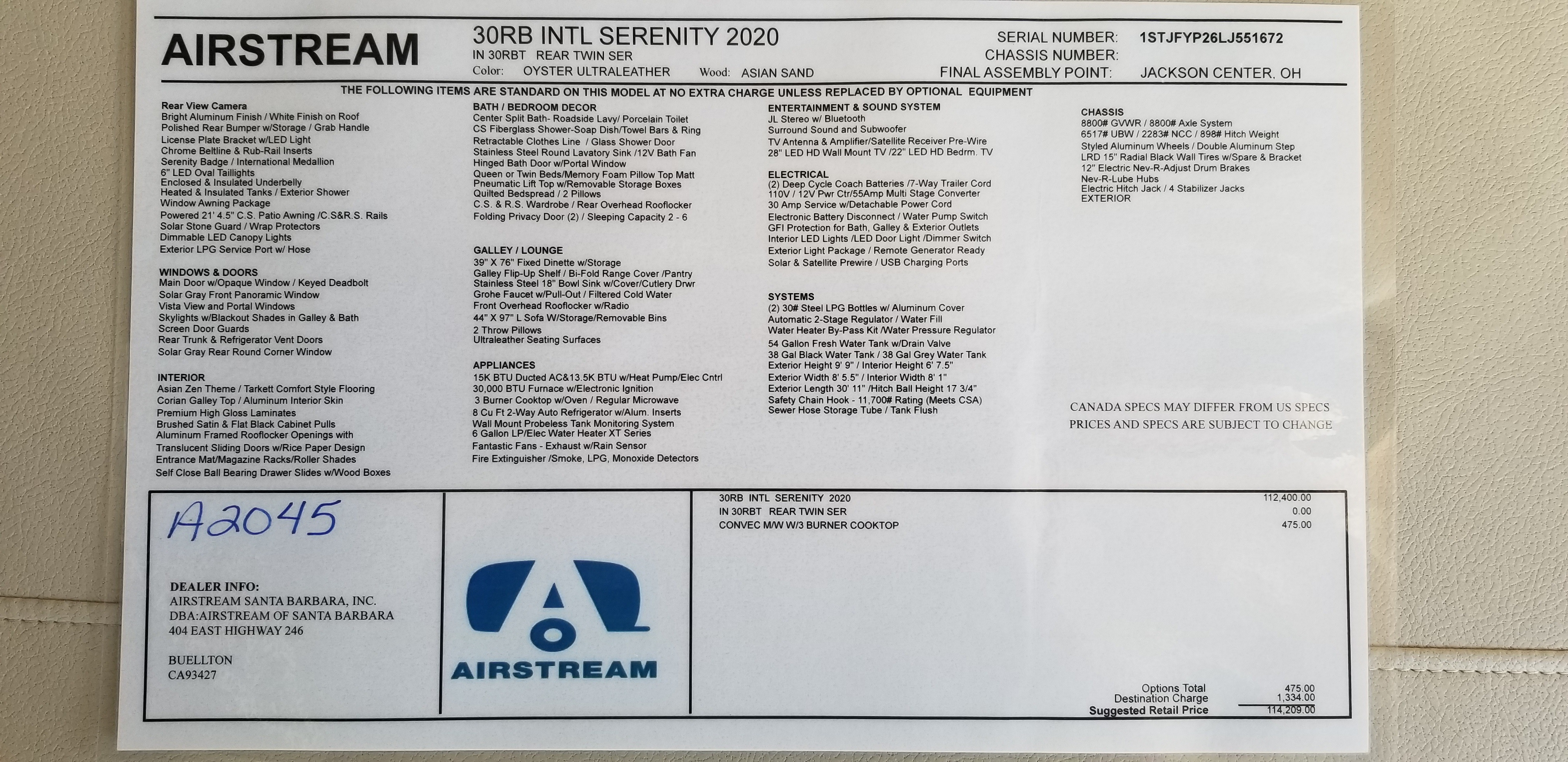 New 2020 Airstream International Serenity 30RBT